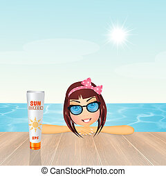girl with sunscreen - illustration of girl with sunscreen
