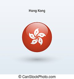 Hong Kong round flag. Vector illustration.