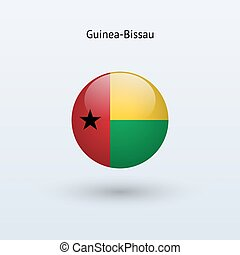 Guinea-Bissau round flag. Vector illustration. -...