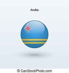 Aruba round flag Vector illustration - Aruba round flag on...