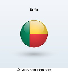 Benin round flag. Vector illustration. - Benin round flag on...