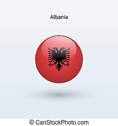 Albania round flag Vector illustration - Albania round flag...