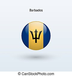 Barbados round flag Vector illustration - Barbados round...