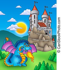 Blue dragon with castle on hill