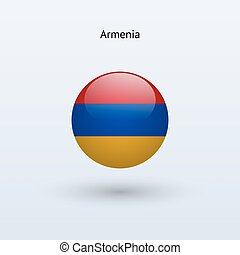 Armenia round flag on gray background. Vector illustration.