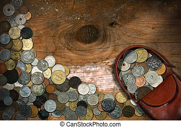 Leather Purse with Old Coins - Brown leather coin purse with...