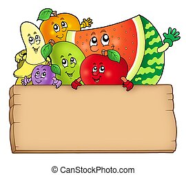 Cartoon fruits holding wooden table - color illustration