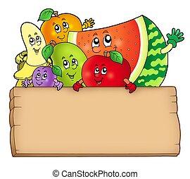 madeira, tabela, caricatura, segurando, frutas