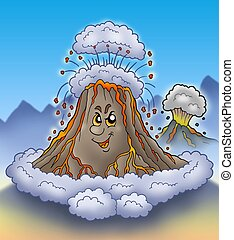 Erupting cartoon volcano - color illustration.