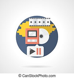 Playback media color detailed vector icon - Video and music...