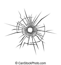 Bullet Hole in Glass. White Background. Vector