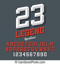 Beveled font - Legend typeface. Beveled sport style retro...