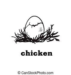 chicken egg sketch - chicken egg to chick hatching. hand...