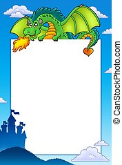 Frame with green dragon and castle