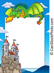Frame with dragon and castle - color illustration.