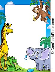 Frame with various African animals - color illustration