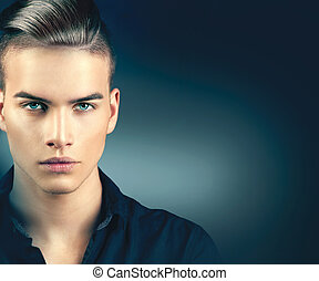 Fashion model man portrait. Handsome guy closeup