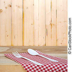 tablecloth and spoon with fork for food serving background