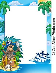 Pirate frame with monkey - color illustration.