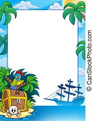 Pirate frame with treasure island - color illustration.