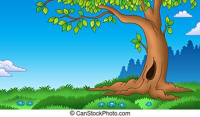 Leafy tree in grassy landscape - color illustration.