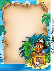 Parchment with pirate on island - color illustration.
