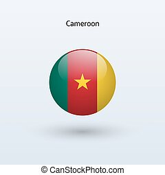 Cameroon round flag Vector illustration - Cameroon round...