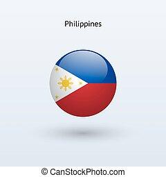 Philippines round flag. Vector illustration. - Philippines...
