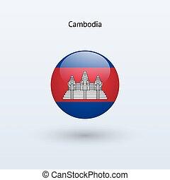Cambodia round flag. Vector illustration. - Cambodia round...