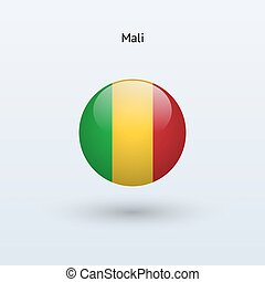 Mali round flag Vector illustration - Mali round flag on...