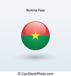 Burkina Faso round flag. Vector illustration.