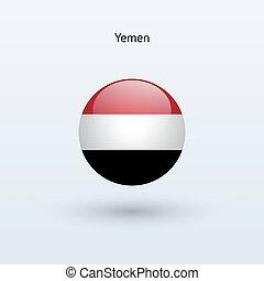 Yemen round flag. Vector illustration. - Yemen round flag on...