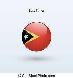 East Timor round flag Vector illustration - East Timor round...