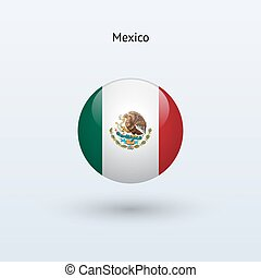 Mexico round flag. Vector illustration.