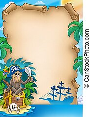 Pirate parchment with monkey - color illustration.