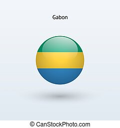 Gabon round flag. Vector illustration. - Gabon round flag on...