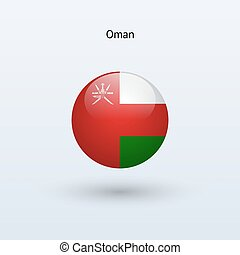 Oman round flag. Vector illustration. - Oman round flag on...