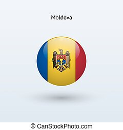 Moldova round flag. Vector illustration. - Moldova round...