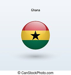 Ghana round flag Vector illustration - Ghana round flag on...