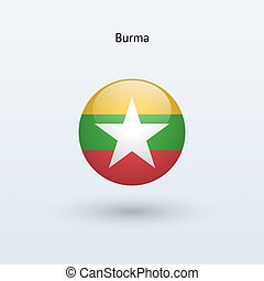 Burma round flag. Vector illustration. - Burma round flag on...