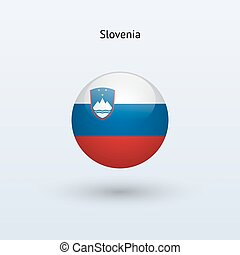Slovenia round flag. Vector illustration. - Slovenia round...