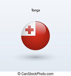 Tonga round flag Vector illustration - Tonga round flag on...