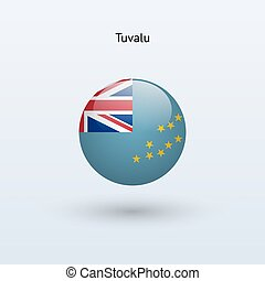 Tuvalu round flag. Vector illustration. - Tuvalu round flag...