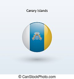 Canary Islands round flag Vector illustration - Canary...