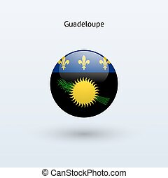 Guadeloupe round flag. Vector illustration. - Guadeloupe...