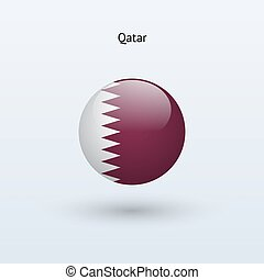 Qatar round flag Vector illustration - Qatar round flag on...