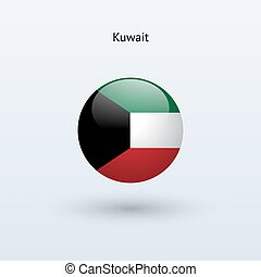 Kuwait round flag. Vector illustration. - Kuwait round flag...