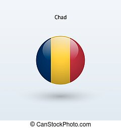 Chad round flag Vector illustration - Chad round flag on...