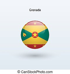 Grenada round flag. Vector illustration. - Grenada round...