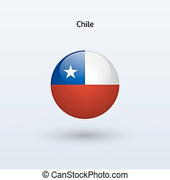 Chile round flag Vector illustration - Chile round flag on...